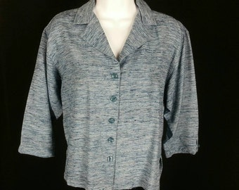 Blue slubbed silk blouse cropped shirt button front 3/4 sleeves size small chest 41in. 52mm
