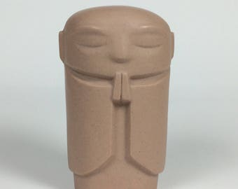 "NEW ""stone"" speckled tan porcelain Jizo - 2.5 in. tall"