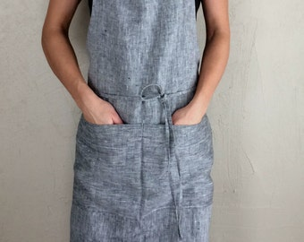 Linen kitchen apron with pockets, full linen apron, linen woman apron, gray linen apron