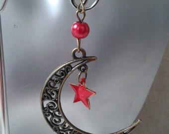 """boucles d'oreilles """"croissant de lune et étoile"""""""