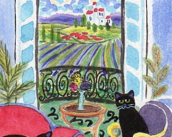 ORIGINAL PAINTING, Two Black Cats on Vacation in Tuscany with Poppies, by DM Laughlin