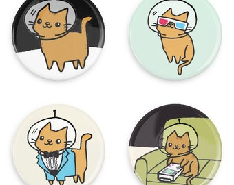Pinback Button Set Space Kitty Astronaut Cat Outer Space Cat Pins Cute Pin Badges Pin Game Pin Collection Flair Magnets