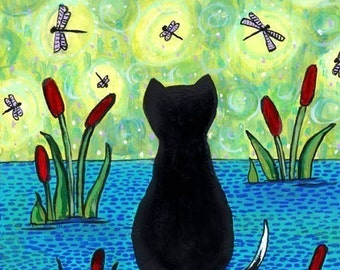 Dragonfly Dreamer- Cat - Print from painting by Shelagh Duffett dragonflies