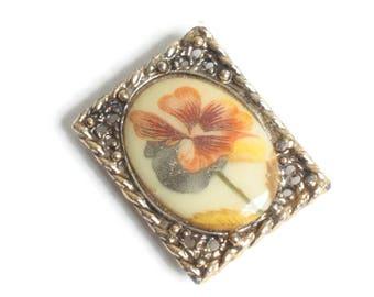 Porcelain Floral Transfer Pendant Fancy Gold Tone Rectangular Frame Vintag