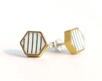 Brass and Resin Geometric Hexagon Studs with Stripe Detail