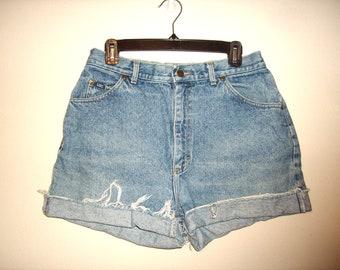 Vintage 1990s High Waist Denim Shorts, Size Large