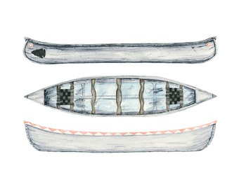 canoe art print - 8x10 inch archival print of three canoes