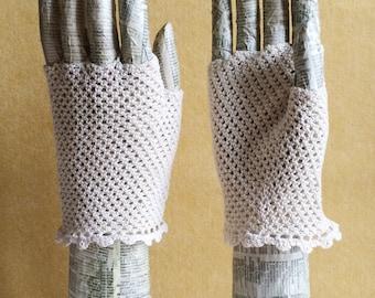 Fingerless Crochet Gloves - Fishnet design