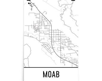 Moab Map, Moab Art, Moab Print, Moab Utah Poster, Moab UT, Moab Wall Art, Map of Moab, Moab Gift, Moab Decor, Moab Map Art Print