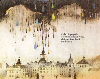 Surreal Soviet Fairy Tale Art - Rainbow Palace - Rain Cloud - Mid Century Polish Children's Illustration - Nursery Decor