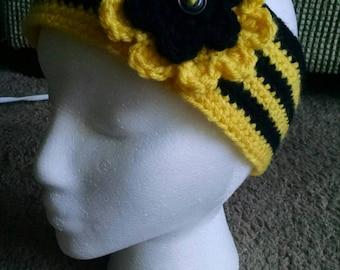 Handmade crochet ear warmer with flower