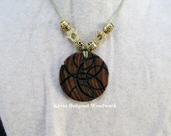 Necklace with beads hand made Mexican Bocote wood