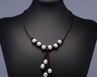 Pearl Necklace, Leather Pearl Necklace, Pearl and Leather Necklace, Freshwater Pearl Jewelry, Pearl Necklace Choker