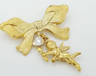 Vintage Gold Bow With Dangling Cupid Angel & Rhinstone Heart Brooch
