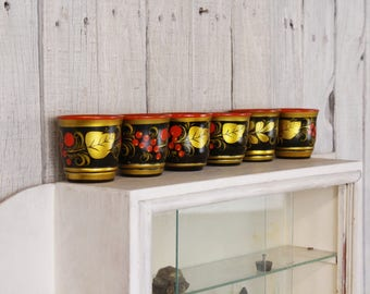 1970's wooden cups, Hand painted cups, Set of six cups, Russian folk art cups, Small wooden cups, Russia Khokhloma cups, Kitchen decor