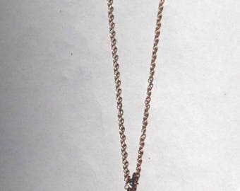 22kt Vermeil Chain Necklace with Oxidized Sterling Tear Drop Oxidized Silver Pendant and White Topaz Accents