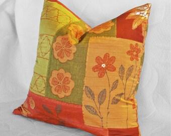 Orange Green Pillows, 18x18, 20x20, Throw Pillow, Floral Pillow Covers, Orange Cushions, Gold, Boho Pillow, Eclectic Pillows, Spring Decor
