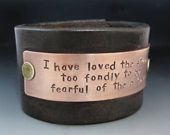 Men's Personalized 1.5 inch Wide Leather Cuff Bracelet with Copper OR Brass Metal Plate / Custom 7 year Anniversary Gift Idea / Father's Day