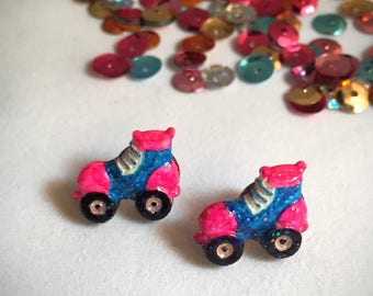 Tiny Roller Skate Earrings - Made from Repurposed Buttons - Nickel-free Posts, Blue and Pink - Hand Painted