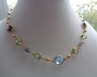 Gemstone chain, 585 gold filled, m. Blue Topaz, Labradorite, Amethyst, smoky quartz