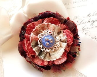 Textile Brooch - Burgundy Red Fabric Flower Pin - Unique Gift for Mother - Floral Lapel Pin - Wedding Brooch - Shawl Pin - Colorful Corsage