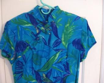 Vintage Dress, Sheri Martin, New York, size 8, Short sleeves, Bright leaf print, stylized design, tie in back, zippered back, ankle length