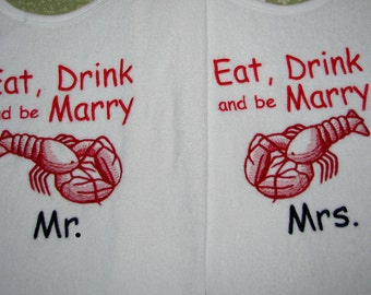 Custom Adult Lobster Bibs. Protect Your Clothes with Humor.  Set of 2.  Personalize it. Great for Retirement, Birthdays, Weddings and More!