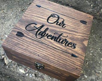 Adventure box- Keepsake box- Memory box- 5th anniversary gift - Wedding keepsake- Gift for them - Gift for her - Gift for men - wanderlust