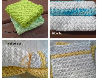 Set of 2 Handmade Crochet Dishcloths, Washcloths, Bathcloths