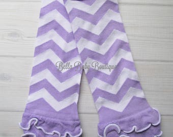 Baby Girl Leg Warmers  * Clearance Sale * Lavender and White Chevron Stripes with Ruffles