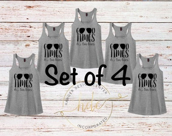 SET OF 4 Good Times and Tan Lines Tank Tops/Bachelorette Party Shirts/Honeymoon Tank/Vacation Tank/Women's Racer Back Tank Top
