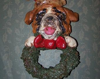 Folk Art Vintage Saint Bernard Dog with Wreath Ornament Ooak Nostagic Style