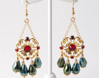 Gold Focal with Swarovski Siam Crystal and Emerald Dangle Earrings