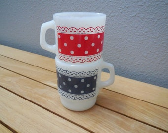 Vintage Fire King Anchor Hocking Red Dot Blue Dot Milkglass Coffee Mugs