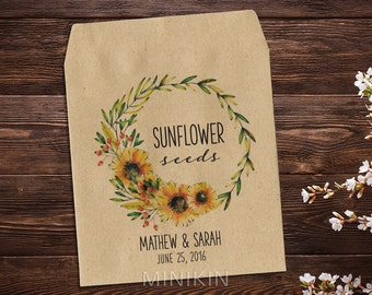 Sunflower Seed Packets, Wedding Seed Packets, Seed Packet Favor, Seed Favor, Let Love Grow, Rustic Wedding Favor, Garden Wedding x 25