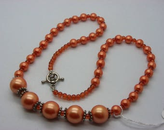 orange glass with 14 mm mother of pearl beads beads necklace