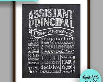 Assistant Principal Gift, Assistant Principal Chalkboard Style Printable, Unique Assistant  Principal Gift, Personalized Digital File