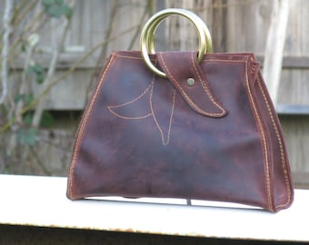 small leather handbag, small leather cross-body bag, maroon