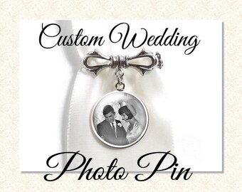 Custom Wedding Photo Pin, Your Own Photo or Quote, Custom Text or Photo Brooch or Pin, Lapel Pin, Family Designation Jewelry, Photo Pin