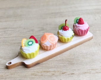 Miniature Fruit Cup Cake on wooden tray,Miniature Cakes,Miniature Sweet,Dollhouse Cake,Miniature Fruit Cake