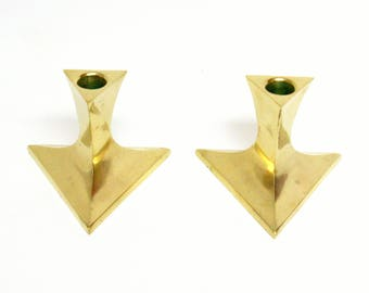 Pair of Brass Triangle Shaped Candlestick Holders