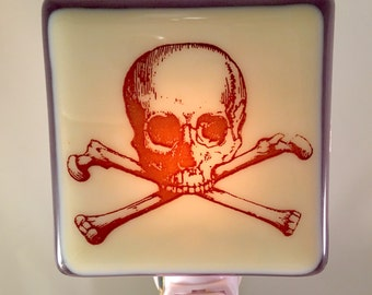 Skull and Crossbones Night Light Fused Glass