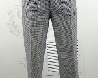 VINTAGE HOUNDSTOOTH PANTS 1970s Happy Legs Size Small Petite
