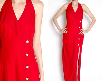 CLOSING SALE vintage 90s red high slit evening gown / formal dress / haulter top / prom dress / medium