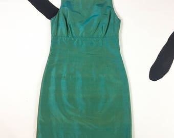 90's iridescent green silk mini dress 1990's Cythia Rowley minimal cyber y2k party dress / shimmering / oil spill / mermaid / made in USA 6