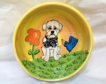Dog Bowl / Hand Painted / Ceramic Bowl / Custom / Dog Trophy / Whimsical Dog / Debby Carman / Faux Paw Productions