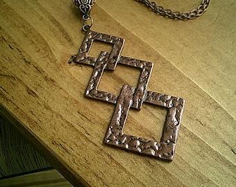 Hammered Copper Pendant Necklace, Copper Jewellery, Ladies Jewelry Gift, Copper Chain Necklace, Copper Pendants UK