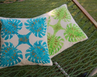 2 Hand Painted Cotton Pillow Cover Hawaiian Design Leaf