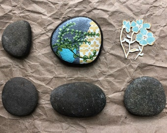 Hand Painted Rock: House Plant Painting, boho decor, home decor, nature decor, gardener, naturalist