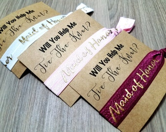 Will You Help Me Tie The Knot Maid of Honor Hair Tie Favors | Bachelorette Party Favors | Bridesmaid Proposal | Bridesmaid Gift